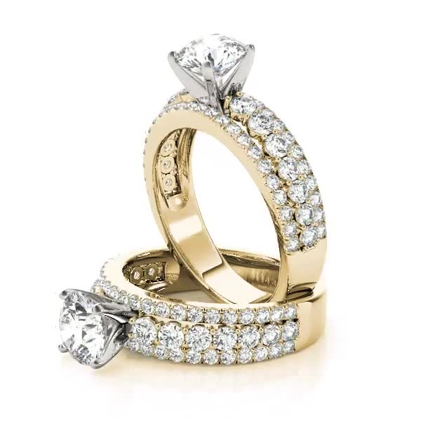 Triple Row Diamond Engagement Ring Yellow Gold