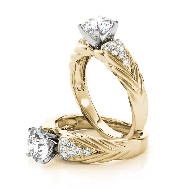 Cluster Diamond Embossed Braid Engagement Ring Yellow Gold