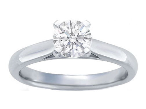 Tapered Cathedral Solitaire Engagement Ring Setting in 14K White Gold