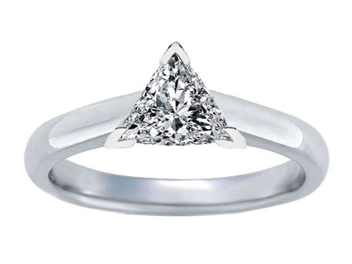 Trillion Diamond Tapered Cathedral Solitaire Engagement Ring Setting in 14K White Gold