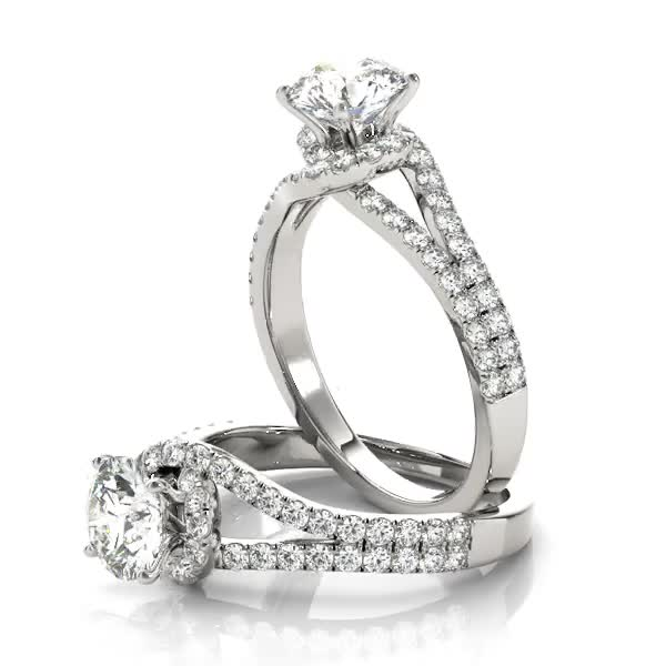Swirl Petite Split to Double Band Engagement Ring