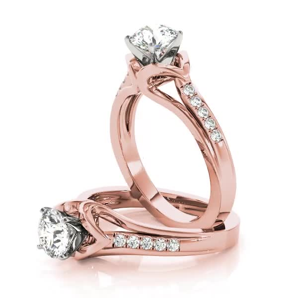 Swan Cathedral Diamond Bridal Set in Rose Gold