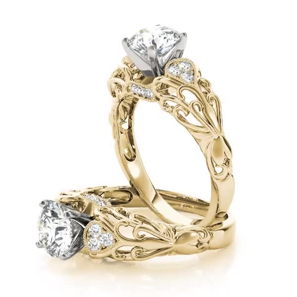 Filigree Floral Diamond Engagement Ring in Yellow Gold