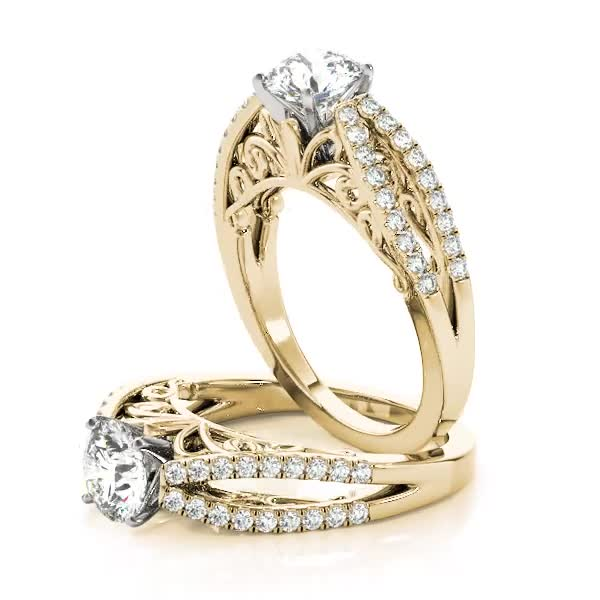 Split Diamond Filigree Engagement Ring in Yellow Gold