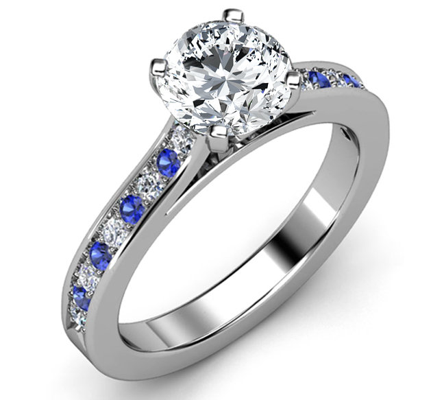 Engagement Ring Diamond Engagement Ring Blue Sapphires Diamonds