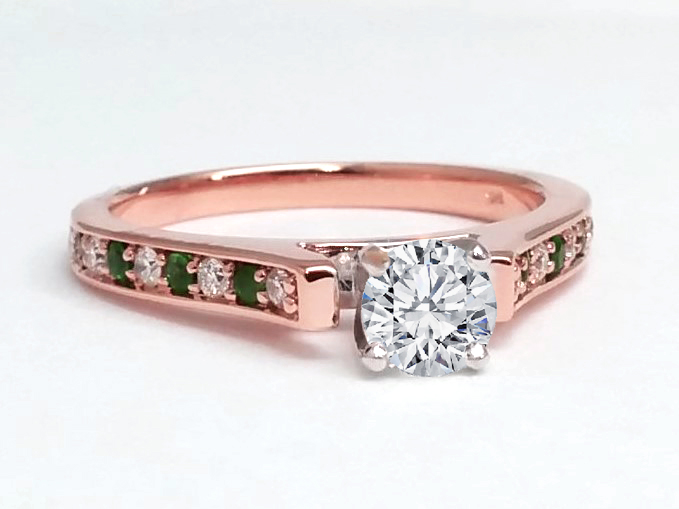 Round Diamond Engagement Ring Alternate Green Emerald's and Round Diamonds In 14k Rose Gold