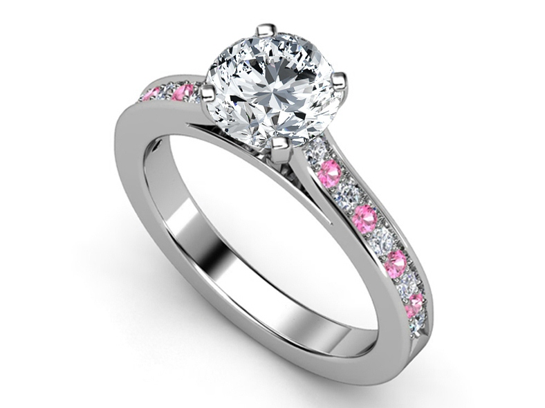 Diamond Engagement Ring Pink Shires Diamonds Band In White Gold