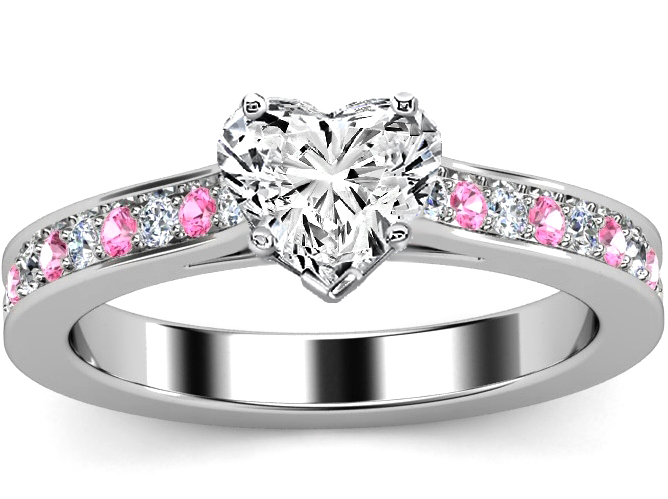 Heart Diamond Engagement Ring Pink Sapphires Diamonds Band In White Gold