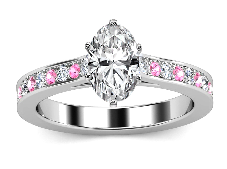 Oval Diamond Engagement Ring Pink Sapphires & Diamonds band in White Gold