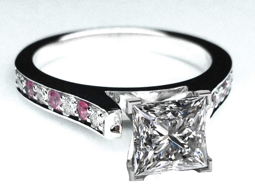 Princess Diamond Engagement Ring Pink Sapphires & Diamonds band in White Gold