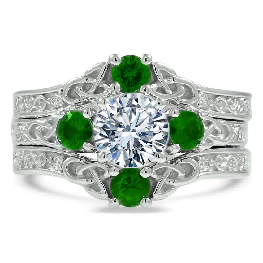 Celtic Trinity Green Emerald Three Ring Bridal Set