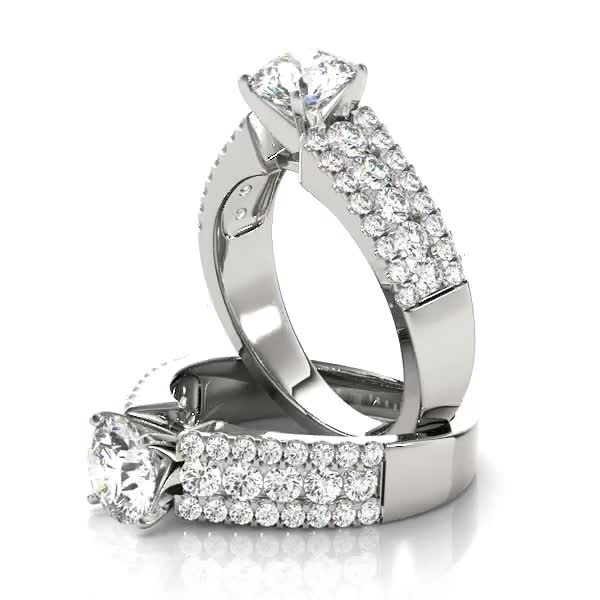 Three row band engagement ring