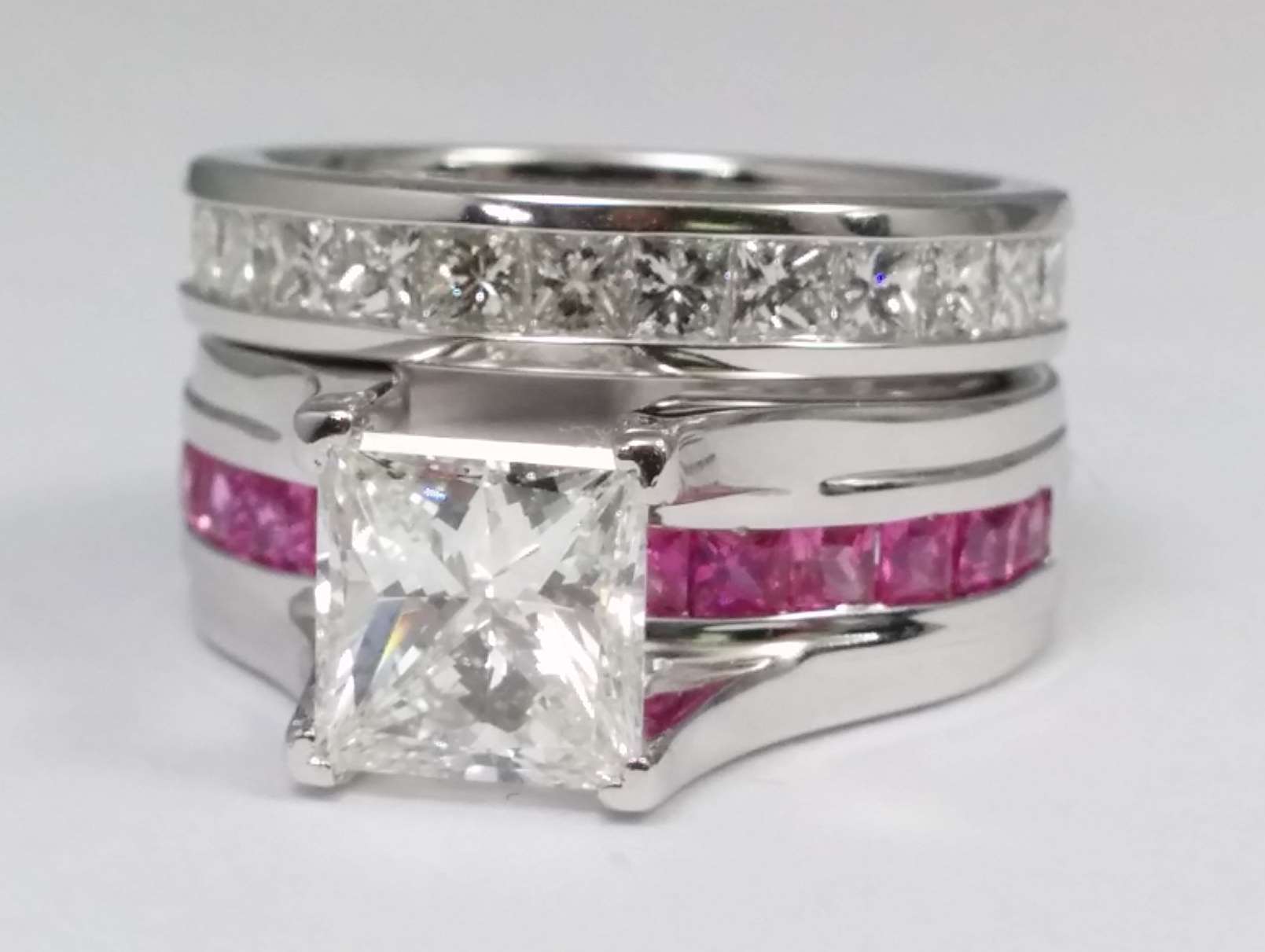 sapphire anniversary band pink in and ring bridge white engagementdetails cut princess eternity diamond cfm with engagement gold setting bands