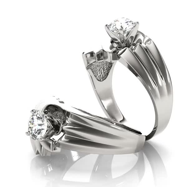 Swirl Solitaire Wide Engagement Ring Modern design