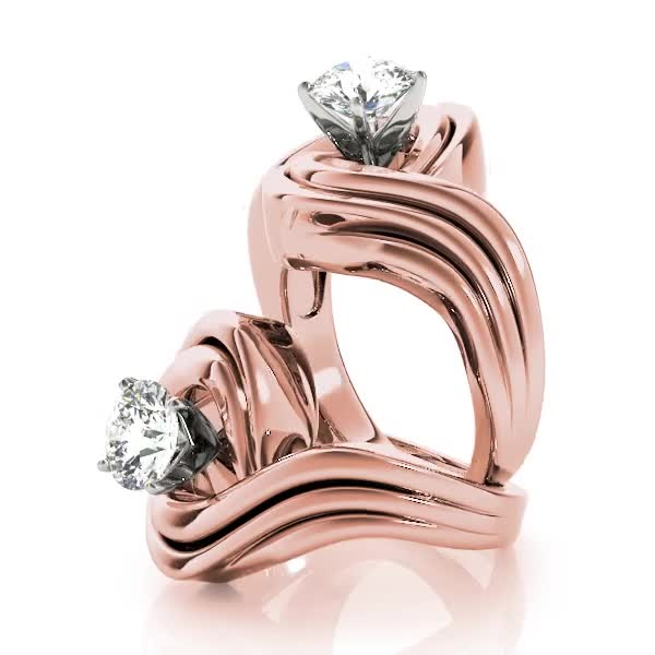 Wide Swirl Modern Solitaire Engagement ring, Rose Gold