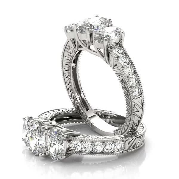 Three Stone Oval Engagement ring setting vintage style, diamond band