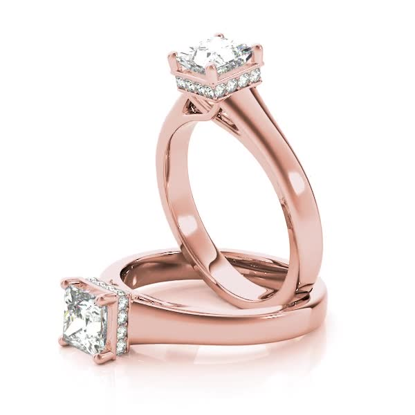 Solitaire Princess Engagement Ring, diamond Gallery, Rose Gold