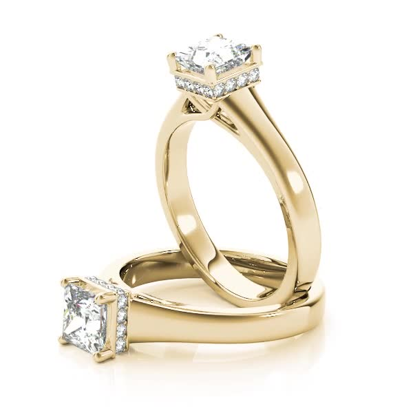 Solitaire Princess Engagement Ring, diamond Gallery, Yellow gold