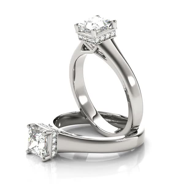 Solitaire Princess Engagement Ring, diamond Gallery