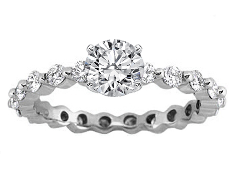 Eternity Diamond Engagement Ring Setting 0.63 tcw. In 14K White Gold