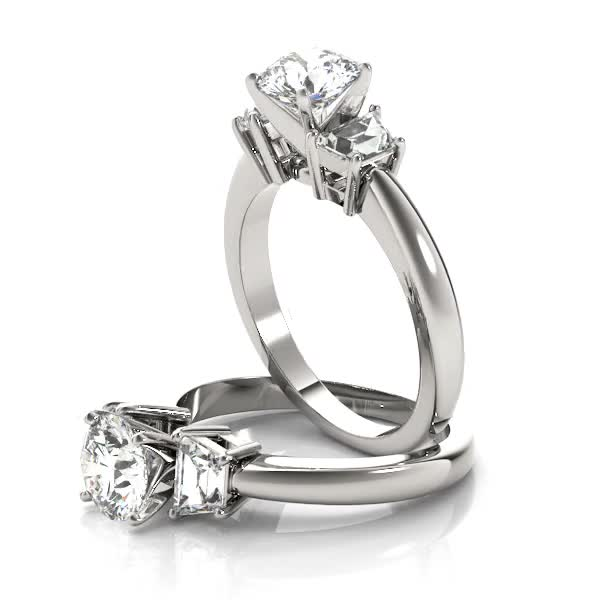 Trapezoid Diamond Engagement Ring