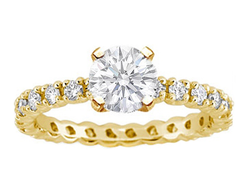 14 Karat Yellow Gold Eternity Diamond Engagement Ring Setting 0.78 tcw.