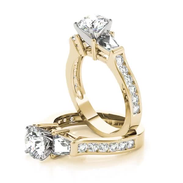 Brilliant Baguette Diamond Ring Yellow Gold