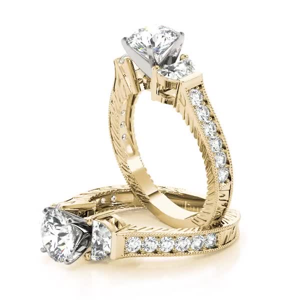 Half Moon Engraved Diamond Ring Yellow Gold