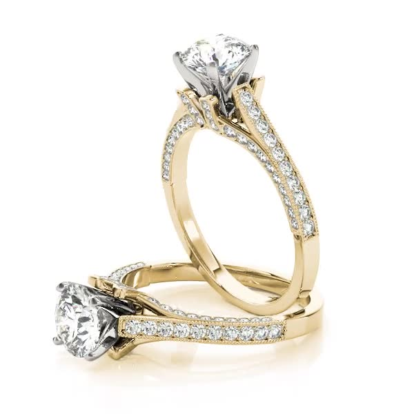 Vintage Cathedral Pave Set Diamond Engagement Ring Yellow Gold