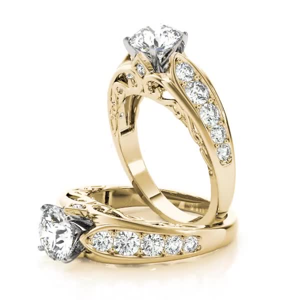 Graduated Diamond Engagement Ring with Filigree Yellow Gold