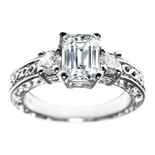 Emerald Cut Three Stone Round Diamond Engagement Ring Setting 0.44 tcw. In 14K White Gold