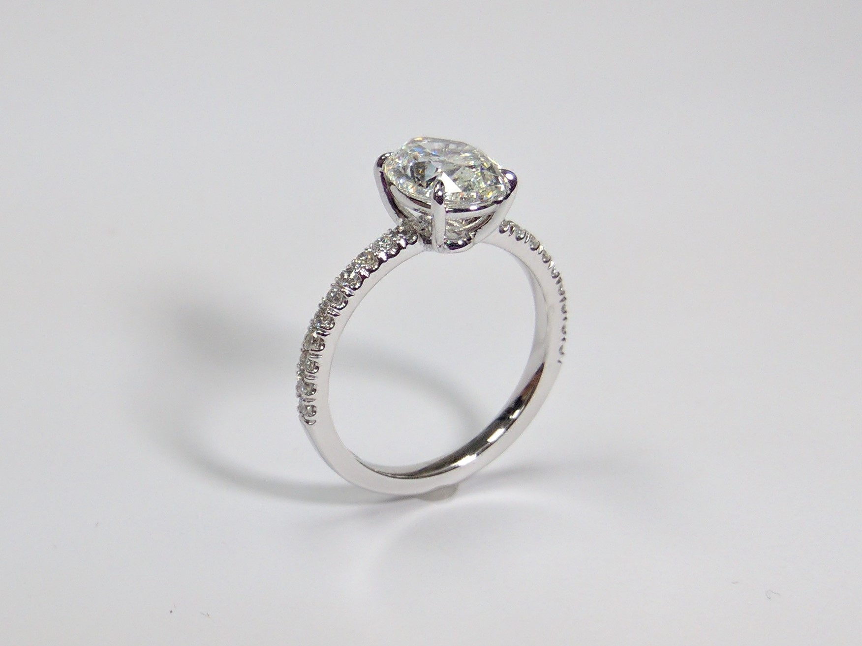 ring size bezel on hand round fb halo profile palladium engagement star dust low diamond products rings dsc moissanite wedding