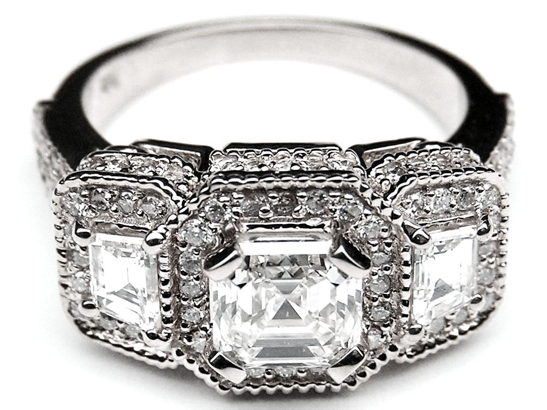 Engagement Ring Asscher Cut Diamond Vintage Style Engagement Ring  Trapezoids Side Stones In 14k White Goldes240ac