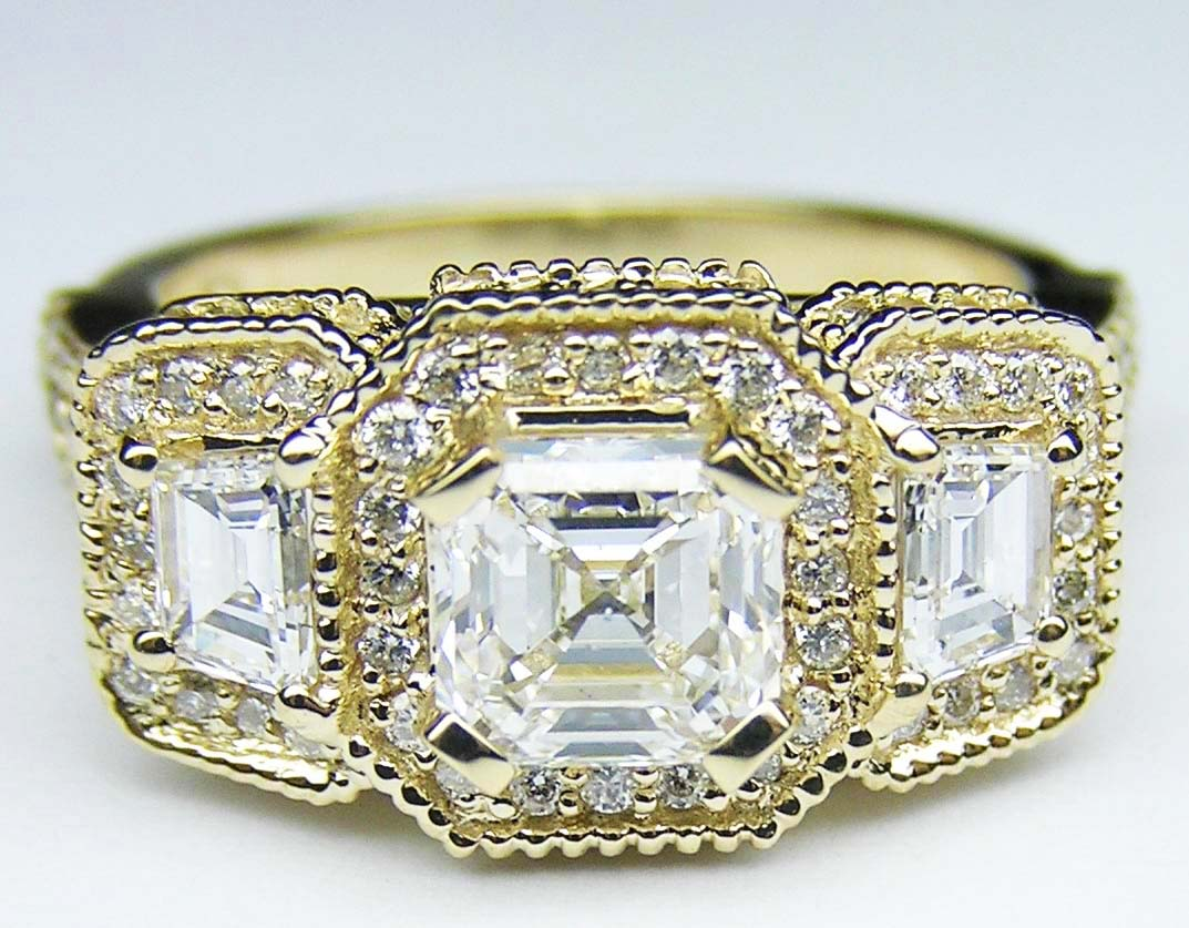 Engagement Ring Asscher Cut Diamond Vintage Style Engagement Ring  Trapezoids Side Stones In 14k Yellow Goldes240acyg