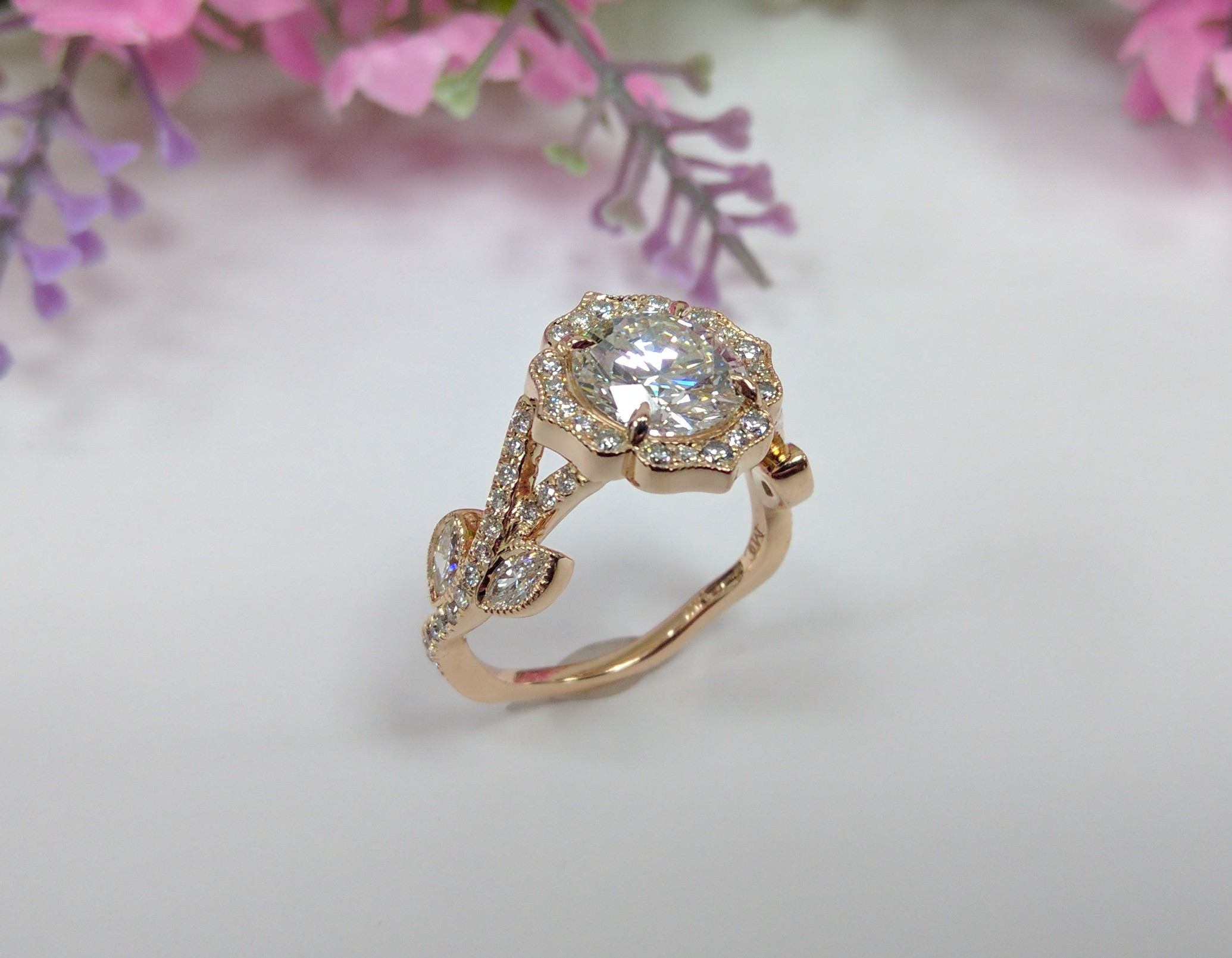 Swing Halo Adonis Diamond Engagement Ring Rose Gold