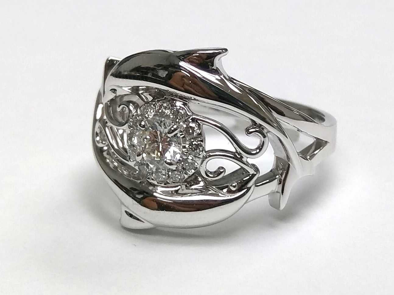 Double Swirl Dolphins, Halo Diamond Ring
