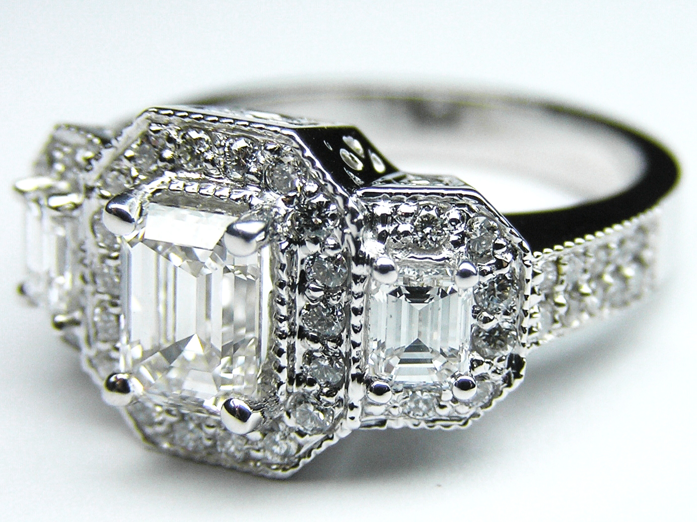 Engagement Ring Three Stone Emerald Cut Diamond Vintage Design Engagement Ri