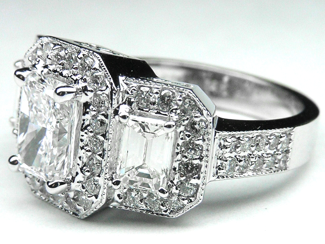 Three Stone Radiant Cut Diamond Engagement Ring Vintage Style in 14K White Gold