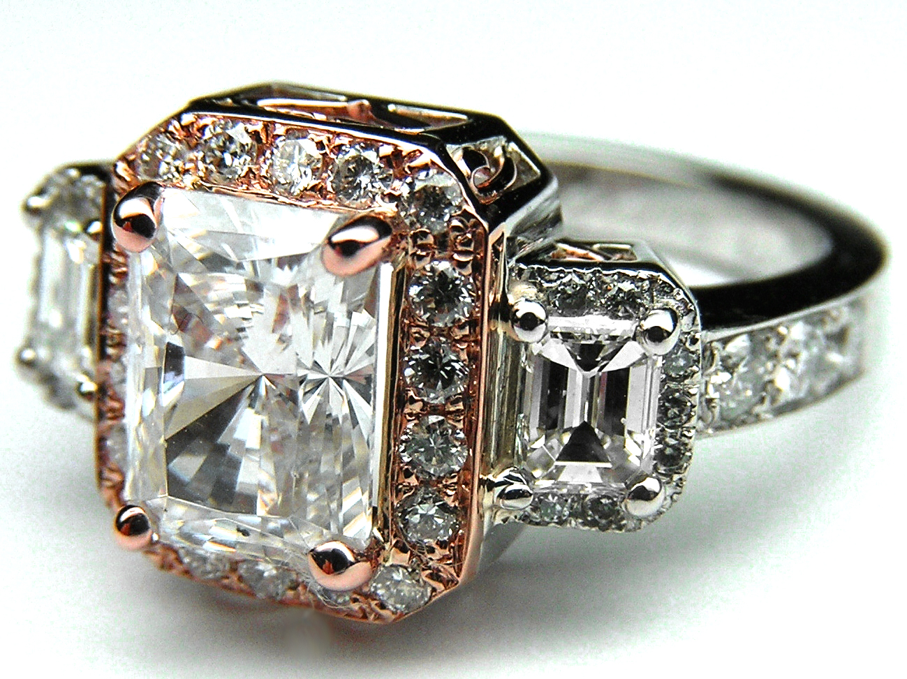 Three Stone Radiant Cut Diamond Vintage Style Twotone Platinum And Pink  Gold Engagement Ring