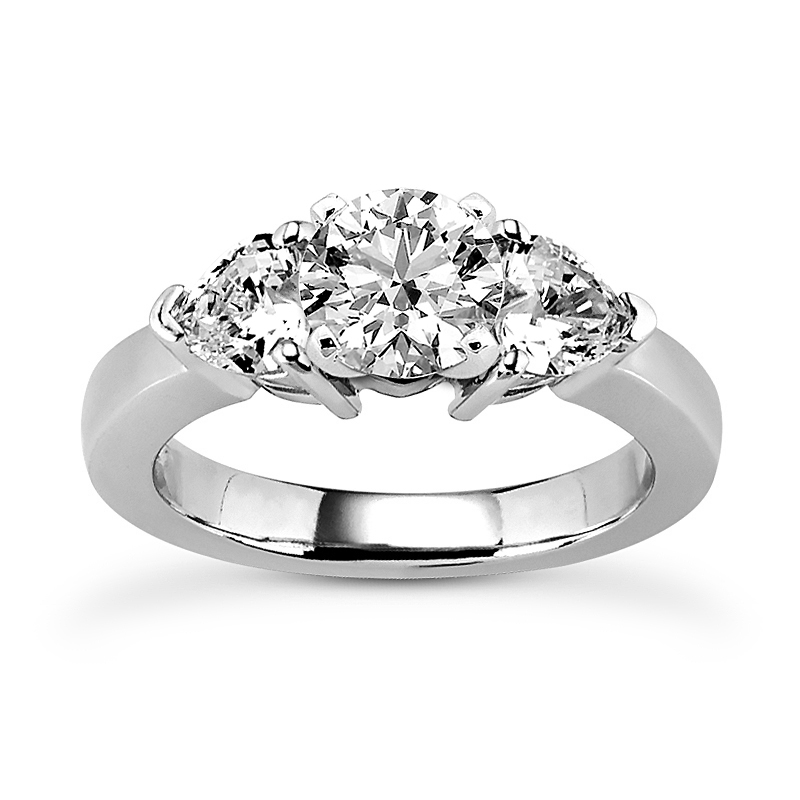 Three Stone Heart Diamond Ring