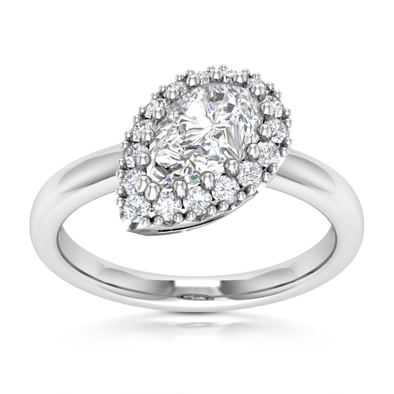Pear Halo Compass Engagement Ring