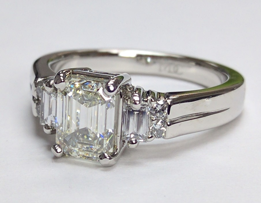 Vintage Emerald Baguette Engagement Ring
