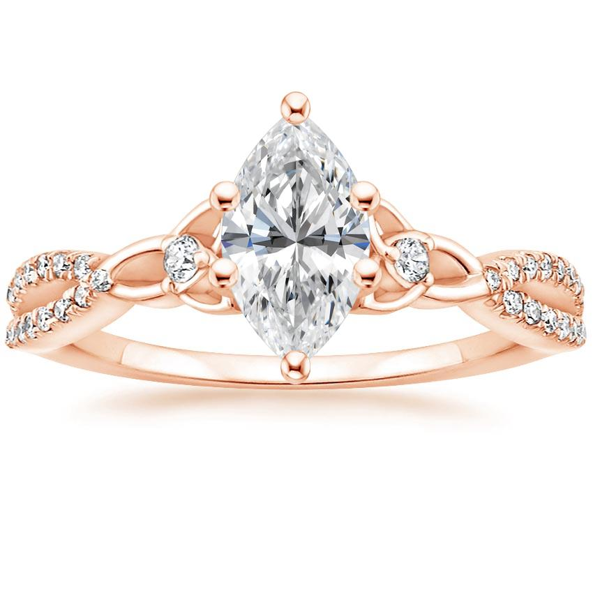 Celtic Love Knot Marquise Diamond Ring Rose Gold
