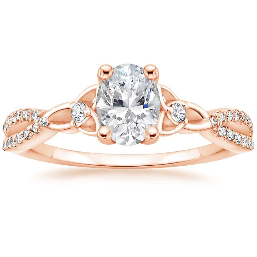 Celtic Love Knot Oval Diamond Ring Rose Gold