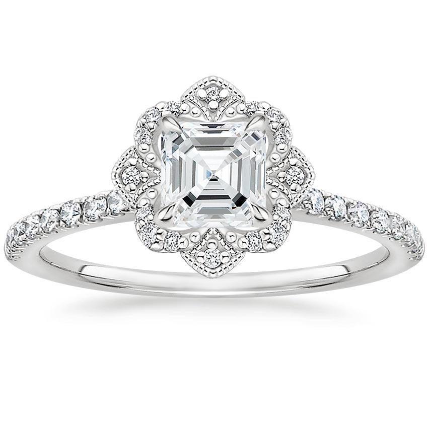 Asscher Royal Crown Halo Engagement Ring