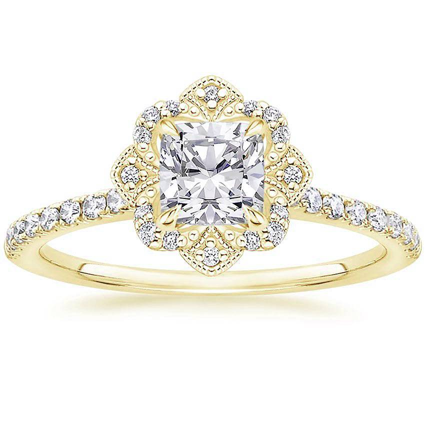 Royal Crown Halo Cushion Diamond Ring Yellow Gold