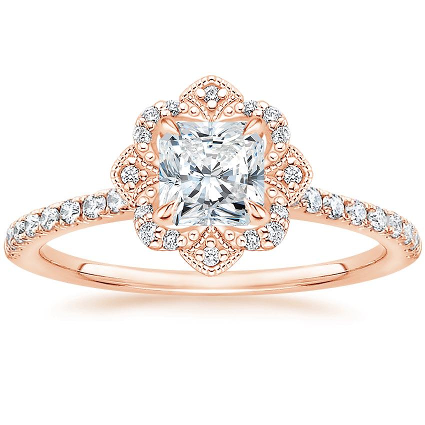 Royal Crown Halo Radiant Diamond Ring Rose Gold