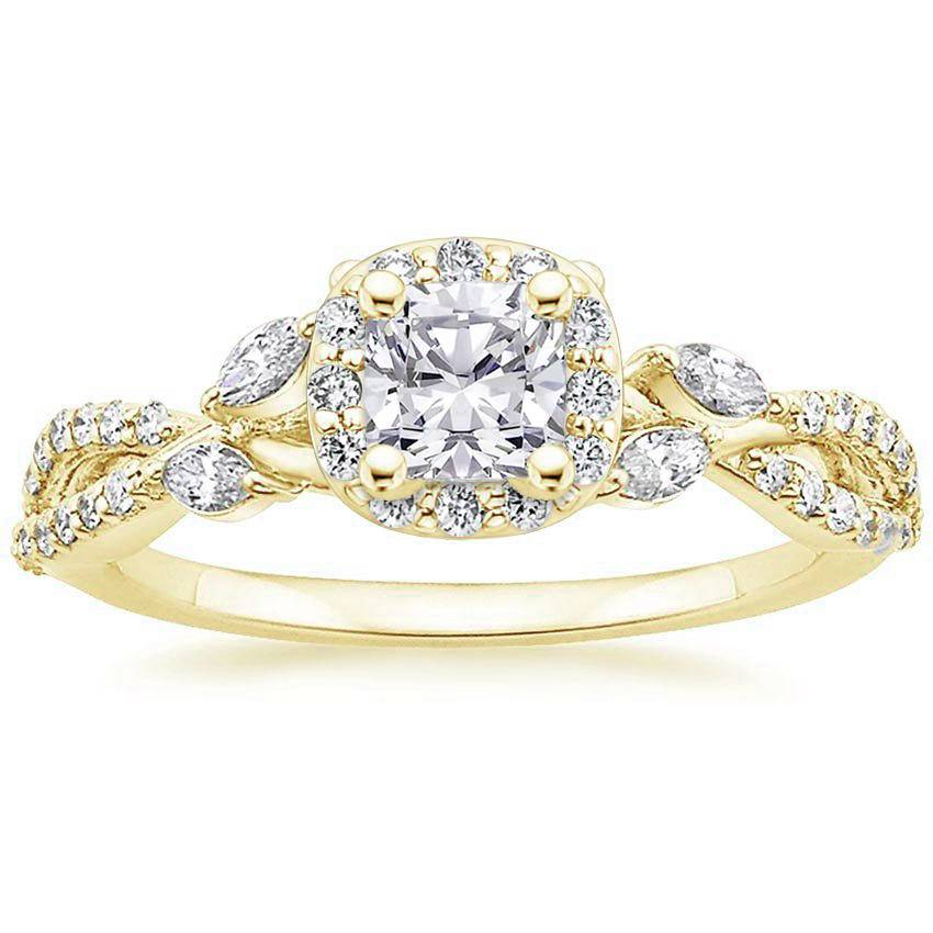 Floral Vine Halo Cushion Diamond Ring Yellow Gold