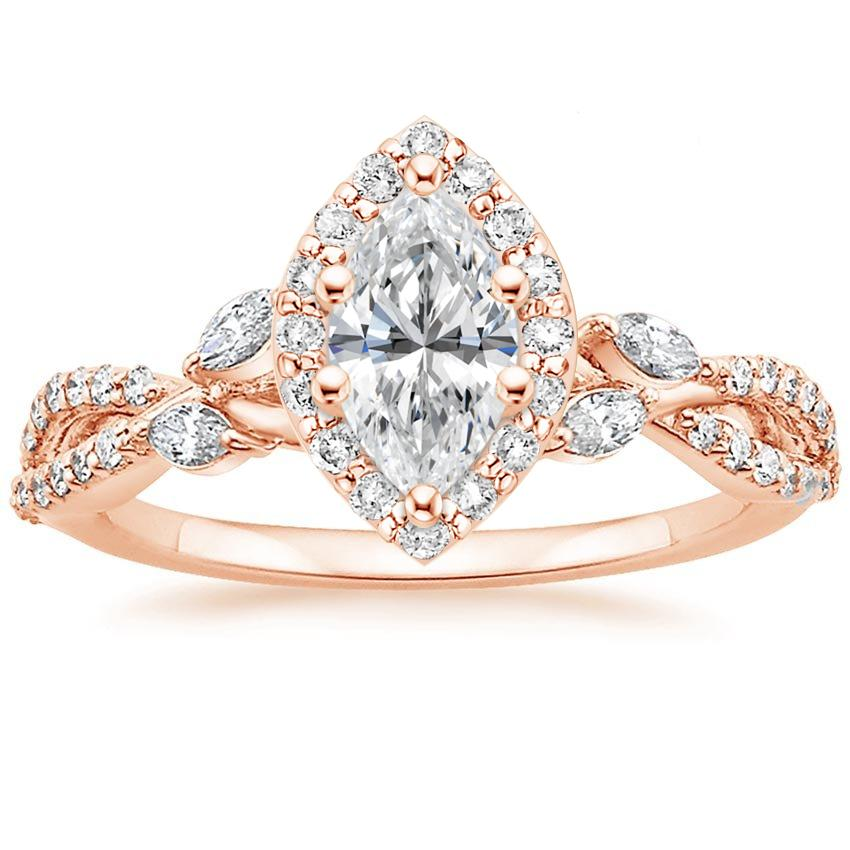 Floral Vine Halo Marquise Diamond Ring Rose Gold