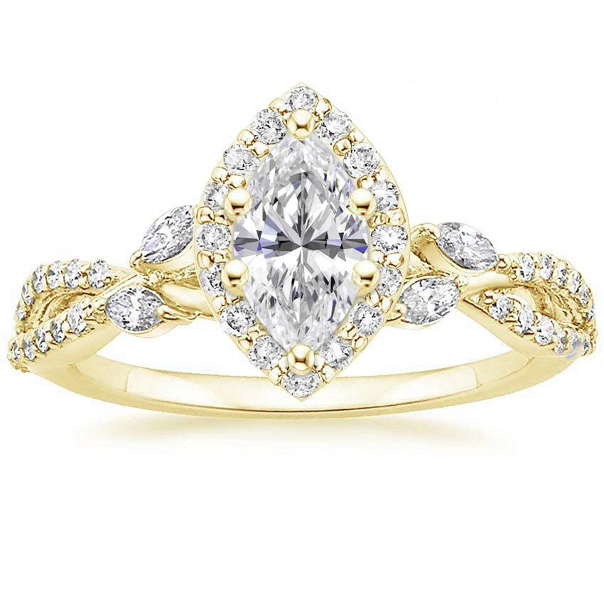 Floral Vine Halo Marquise Diamond Ring Yellow Gold